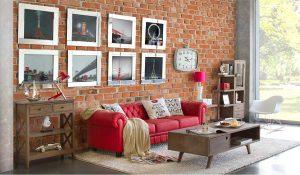 Ambiente de sala de estar decorada con líneas actuales.