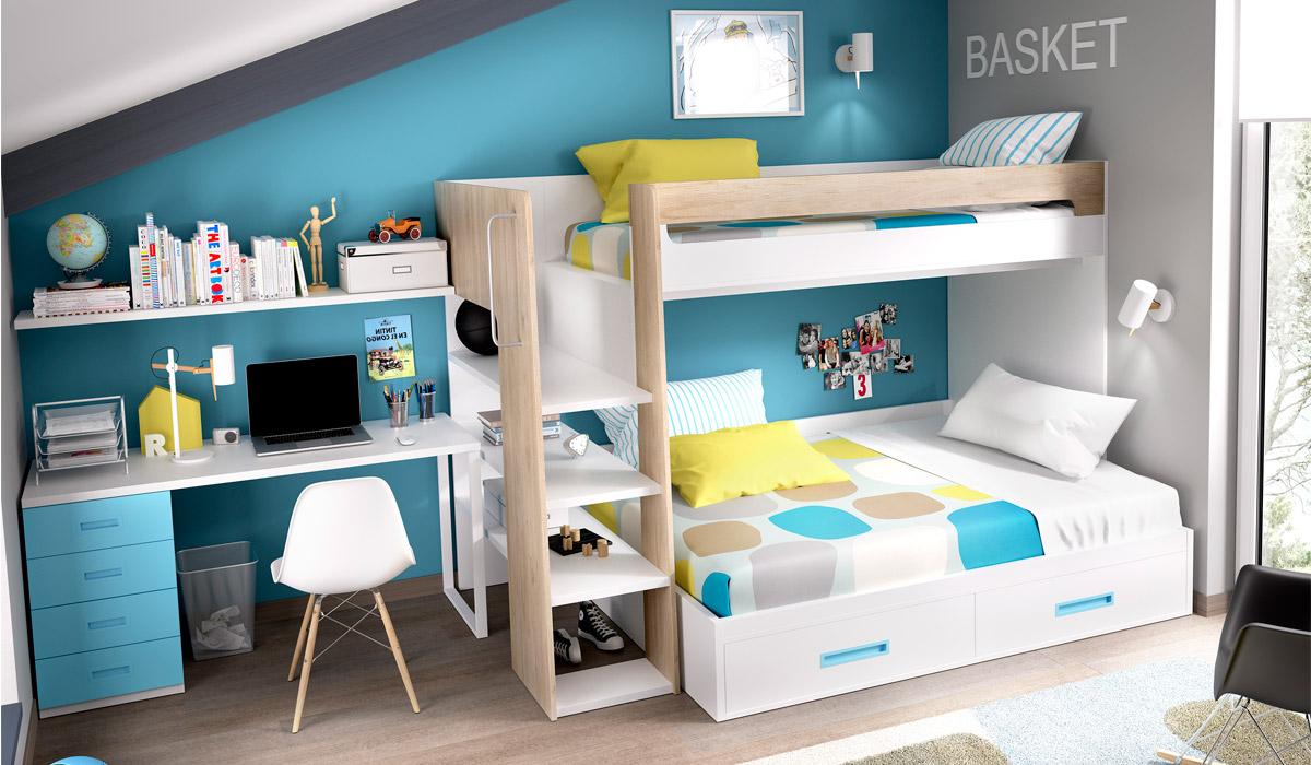 otro apartado en un dormitorio juvenil es el que concierne al estudio no podemos olvidar que este espacio ha de situarse siempre en la zona